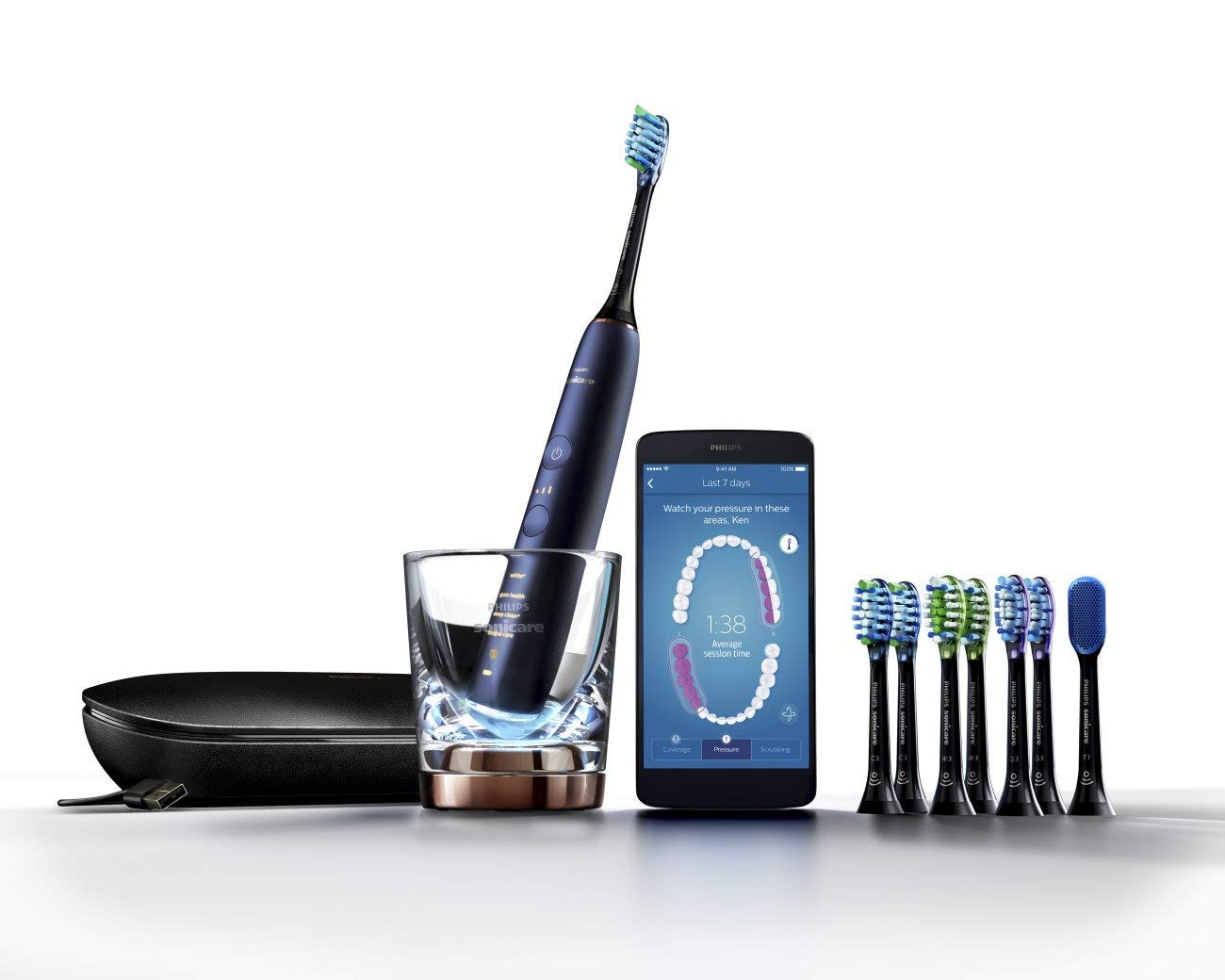 Philips Sonicare DiamondClean Smart Electric, Rechargeable toothbrush for Complete Oral Care, with Charging Travel Case, 5 modes, and 8 Brush Heads  - 9700 Series, Lunar Blue, HX9957/51 by Philips Sonicare