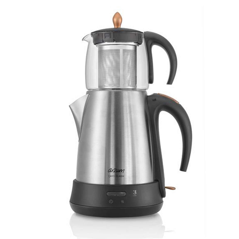 Arzum Elektrische Moderne Teemaschine Frischer-Tee Wasserkocher Glaskanne 1650W