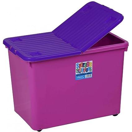 Whatmore – Caja de almacenamiento de plástico con ruedas y tapa plegable (2 unidades)