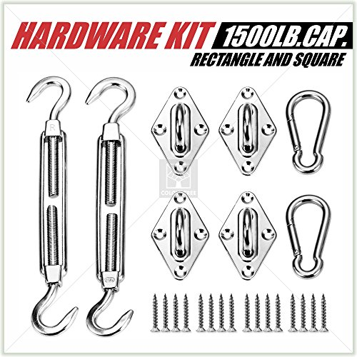 Outdoor Installation Kit (1500 LB Capacity Heavy Duty Sun Shade Sail Canopy Installation Complete Hardware Kit 24 PC - For Square Rectangle Sun Shade Sail - 6 Inches, 316 Stainless Steel, Anti Rust)