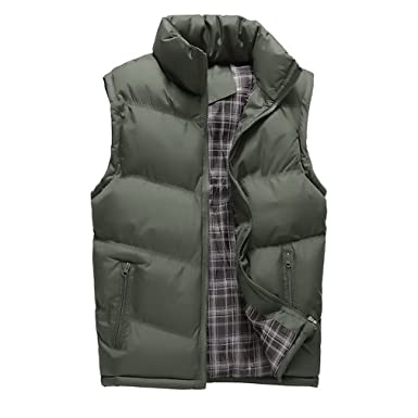 572933831e1 Zichhing Jacket Mens Sleeveless Vest Winter Casual Warm Coats Male  Cotton-Padded Men s Plus Size