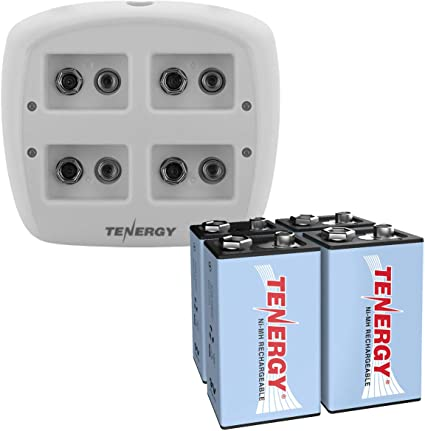 4PCS 250mAh 9V NiMH Rechargeable Batteries Cell Tenergy TN136 4-Bay 9V Charger