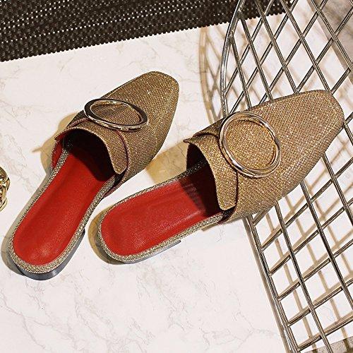 Europa Y Los Estados Unidos En El Verano De Fondo Plano Baotou Sandalias Hembra Rojo Neto Sección Del Código Grandes Zapatillas De Mujer Cool Marea Arrastre golden
