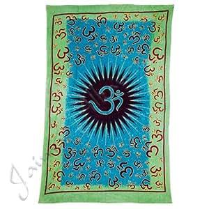 Tela Algodon India Bicolor - Ohm-Artes ana-210 x 140 cm - Colcha Cama Decorativa