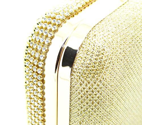 Donna oro con cristalli austriaci, Diamante e lurex pochette/Cocktail/Sera Borsa