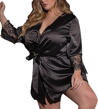 Lady Women/'s Fashional Silk Satin Sleepwear Lace Gown Bath Robe Nightwear Dress