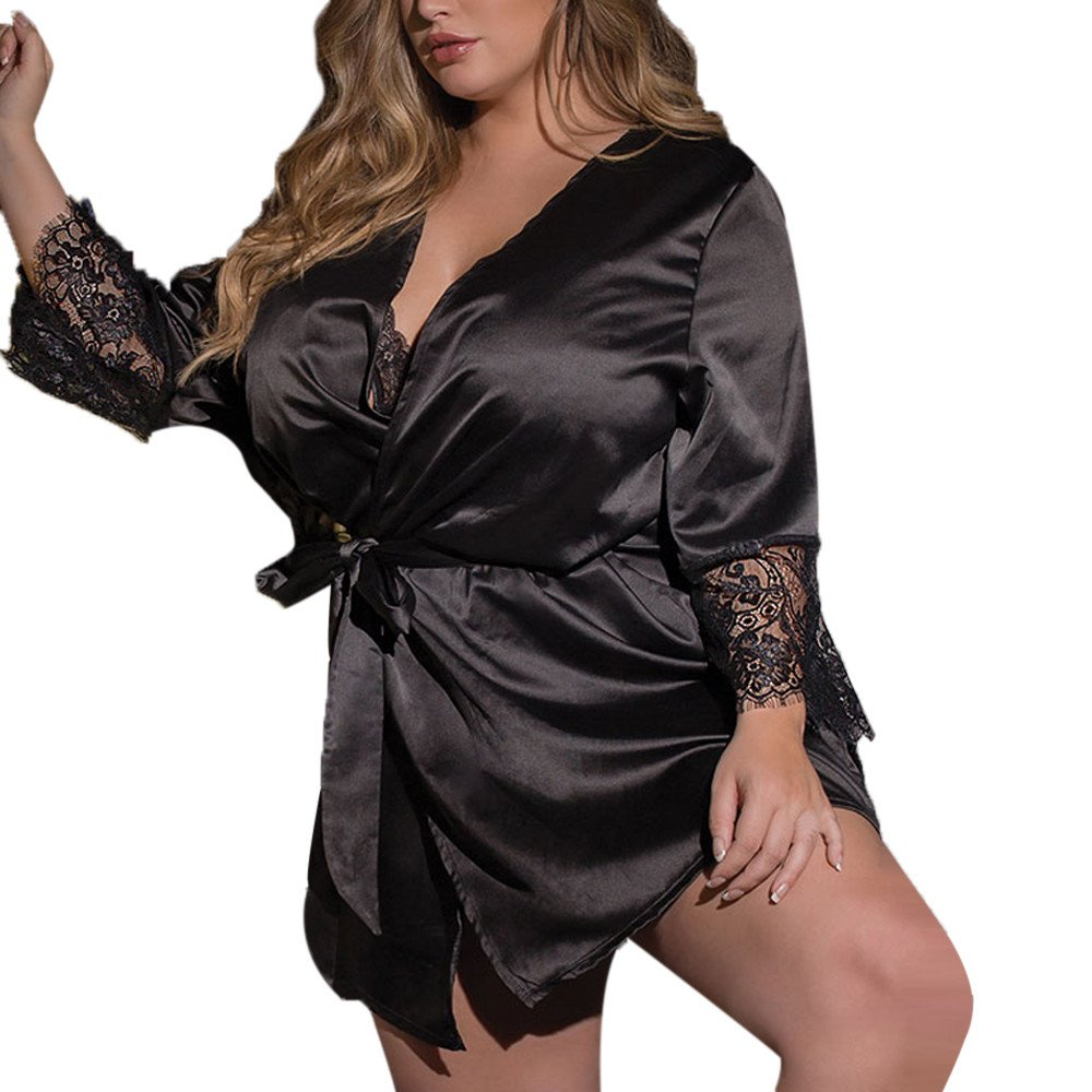 Joyance Women's Sexy Glamorous Eyelash Lace Robe, Large Size Perspective Valentine's Day Temptation Pajamas Black