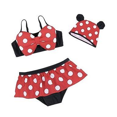eb877a448a32 Neal LINK 3pcs Baby Kid Girl Swimsuits Bathing Polka Dots Bowknot Swimwear  Tankini Dress (L