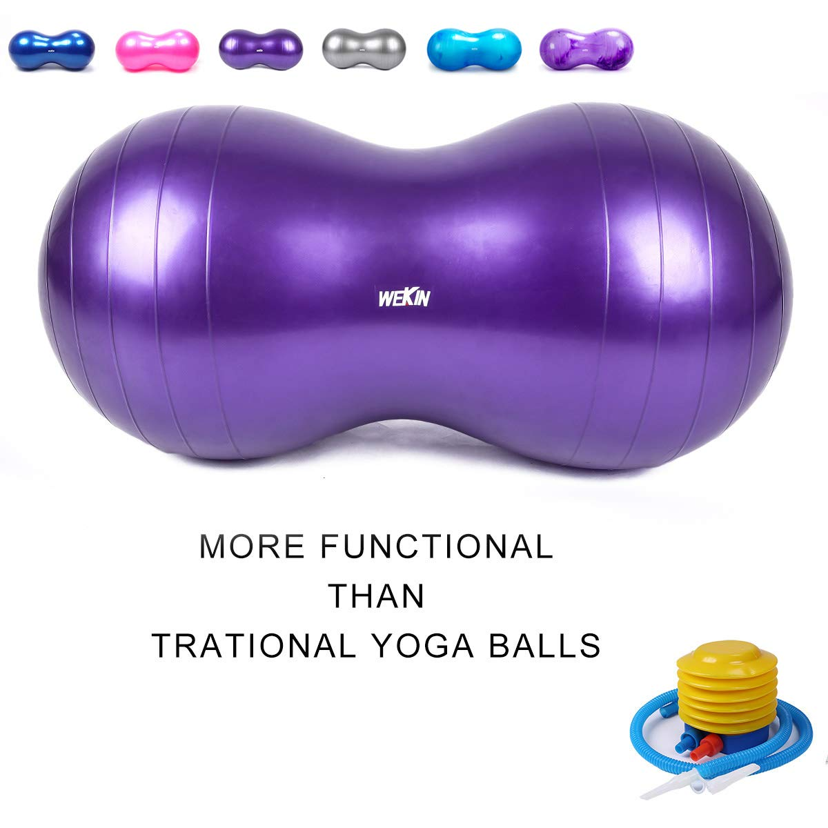 Wekin Physio Roll Therapy Fitness Excercise Peanut Ball for Balance, Labor Birthing, Muscle Tension, Back Pain Relief, Coordinate Development, Dog Training, Home Exercise & Yoga Programme Small Large
