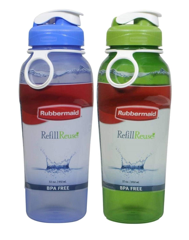 Rubbermaid Refill Reuse Chug Water Bottles, Flip-Top Lid, BPA-Free, Finger Loop for Easy Carrying, 32oz, 2 Pack