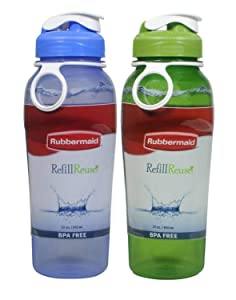 Rubbermaid Refill Reuse Chug Water Bottles, Flip-Top Lid, BPA-Free, Finger Loop for Easy Carrying, 32oz, 2 Pack