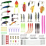 RUNATURE Bass Fishing Gear 114PCS Assortment Fishing Lures Kits Including Crankbaits, Spinnerbaits, Jigs, Worms, Topwater Lures, Hooks, Saltwater Fishing Tackle Box, for Trout Crappie Catfish