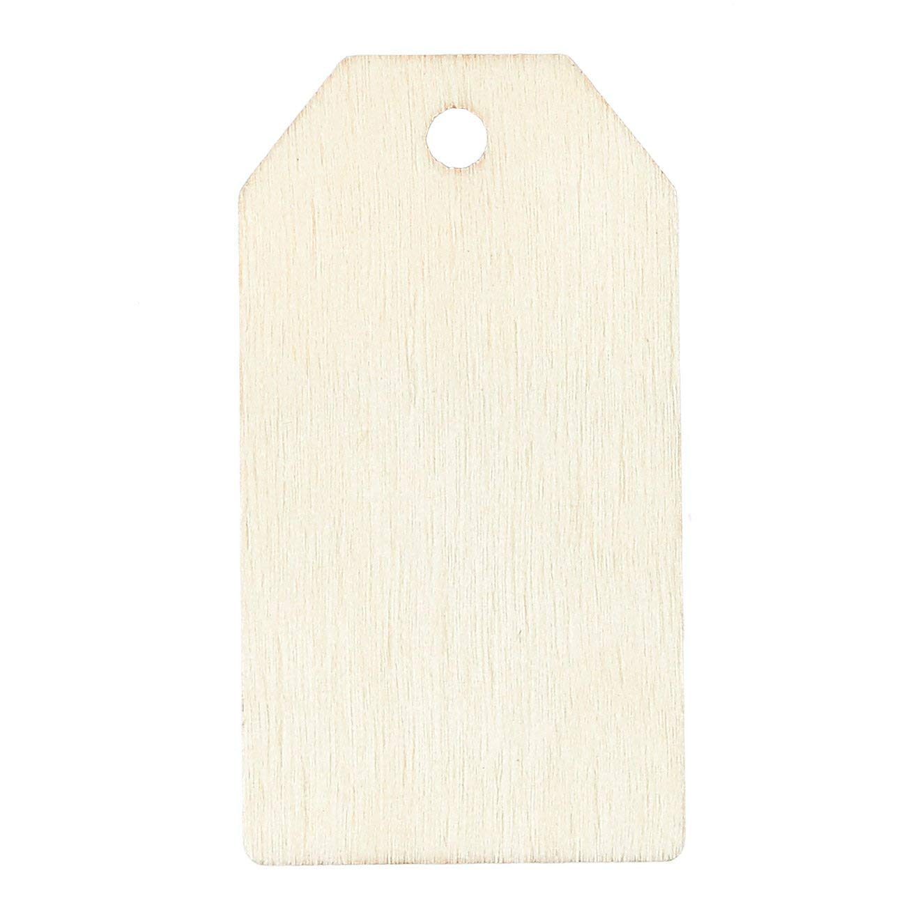 Unfinished Wood Tag 60-Pack Wooden Gift Tags Natural Rustic Wood Craft Labels for Home DIY Supplies 2.25 x 1.25 inches Wedding Decoration
