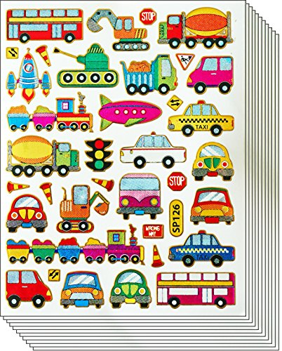 Jazzstick Cute & Fun Cars Bus Train Taxi Truck Stickers for Kids 10 sheets (Truck Decal Sheet)