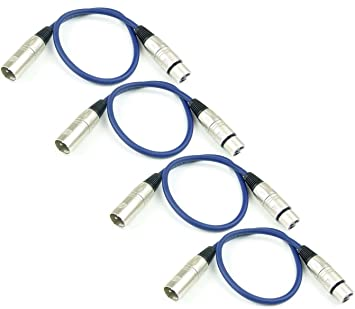 3pin XLR Stecker auf 3pin Buchse Kabel für Microphone Mixer 5m-Schwarz+Blau