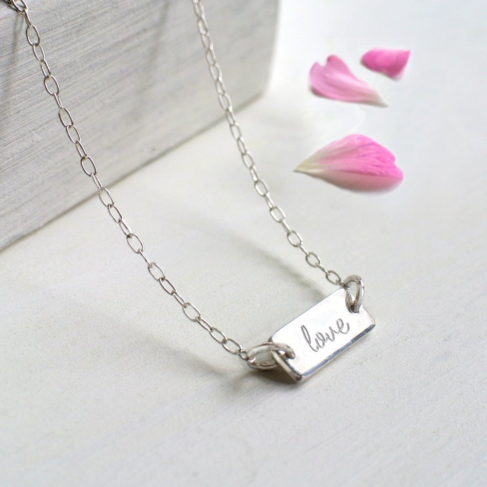 Personalised Sterling Silver Mini Bar 'love' Necklace