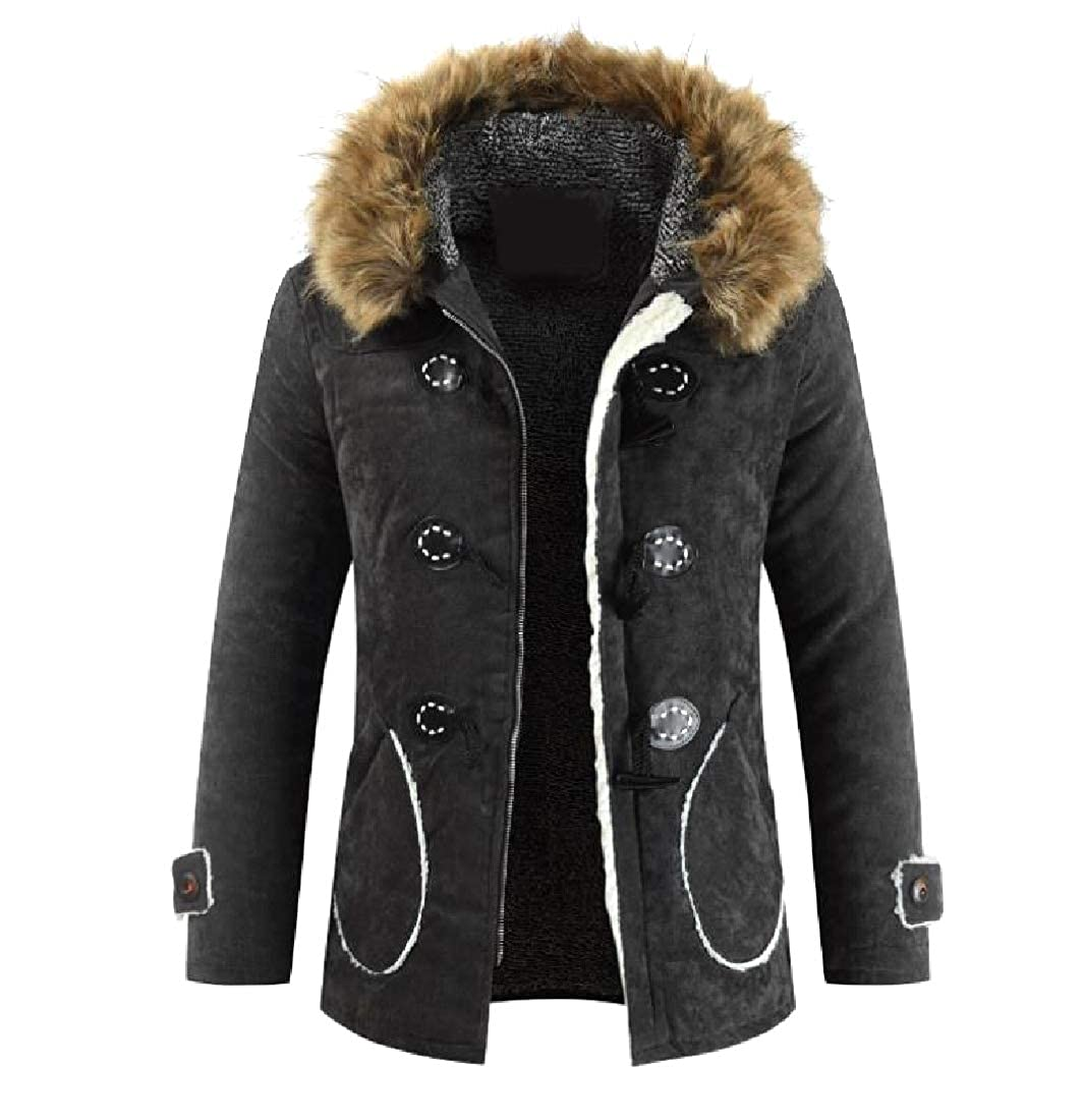 offering 100% Abetteric Mens Warm Fleece with Hood Fur Collar ...