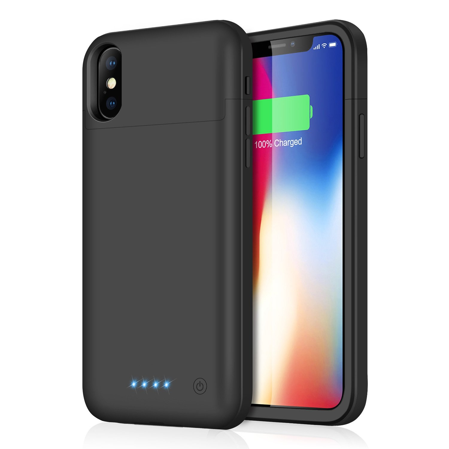 Pxwaxpy iPhone X Battery Case, 5200mAh Rechargeable Charging Case iPhone X Extended Power Charger Case iPhone X iPhone 10 (5.8 inch)- Black