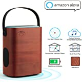 Portable Smart Speaker Works with Amazon Alexa Multi Room Use Farfield Voice-activated without tap WiFi Bluetooth speaker with Wooden Enclosure