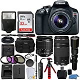 Canon EOS Rebel T6 DSLR 18MP Camera + EF-S 18-55mm IS II Lens + 75-300mm & 500mm Telephoto Lens + Filter Kit + 32GB Memory Card + Gadget Bag + Slave Flash + Wired Remote – Complete Accessory Bundle