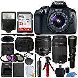 Canon EOS Rebel T6 DSLR 18MP Camera + EF-S 18-55mm is II Lens + 75-300mm & 500mm Telephoto Lens + Filter Kit + 32GB Memory Card + Gadget Bag + Slave Flash + Wired Remote – Complete Accessory Bundle For Sale