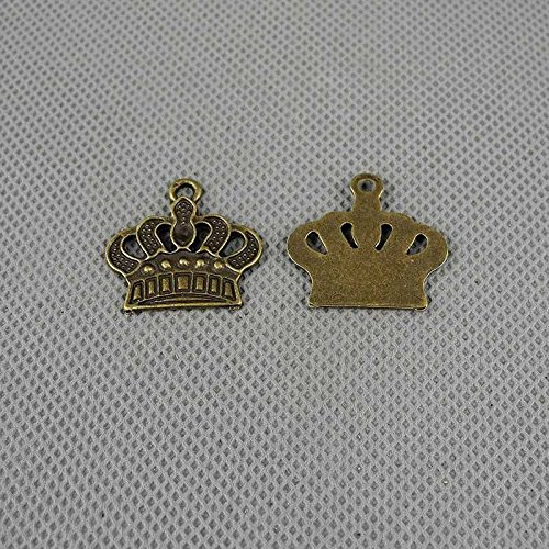 60 PCS Jewelry Making Charms Findings Supply Supplies Crafting Lots Bulk Wholesale Antique Bronze Tone Plated 60517 Crown (Plated Charms Crown)