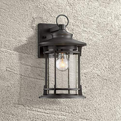 """Grenville Outdoor Wall Light Fixture Dark Bronze Lantern 13 3/4"""" Clear Seedy Glass for Exterior House Porch Patio - Franklin Iron Works"""