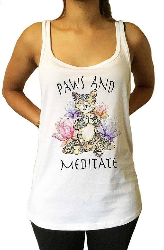 Irony Jersey Top Yoga Cat Paws y Meditate - Lotus Meditación ...
