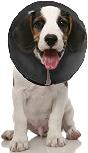 ZenPet Protective Inflatable Recovery Collar for Dogs and Cats - Soft Pet Cone Does Not Block Vision E-Collar - Designed to Prevent Pets from Touching Stitches, Wounds and Rashes