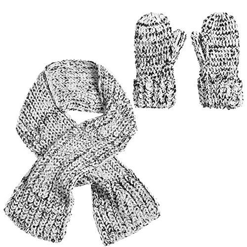 Blanc Noir Accessoryo Écharpe Et Cadeau Coffret Moufles Dames Tricot qfqS5tx