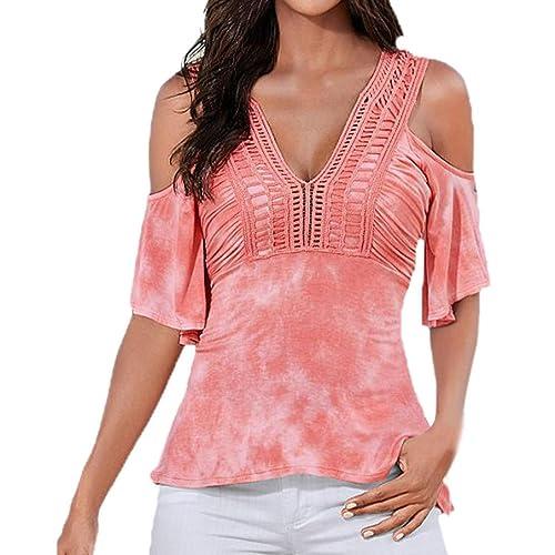 Vovotrade De la camiseta de la camisa hueco del verano de las mujeres del cuello del hombro V media ...
