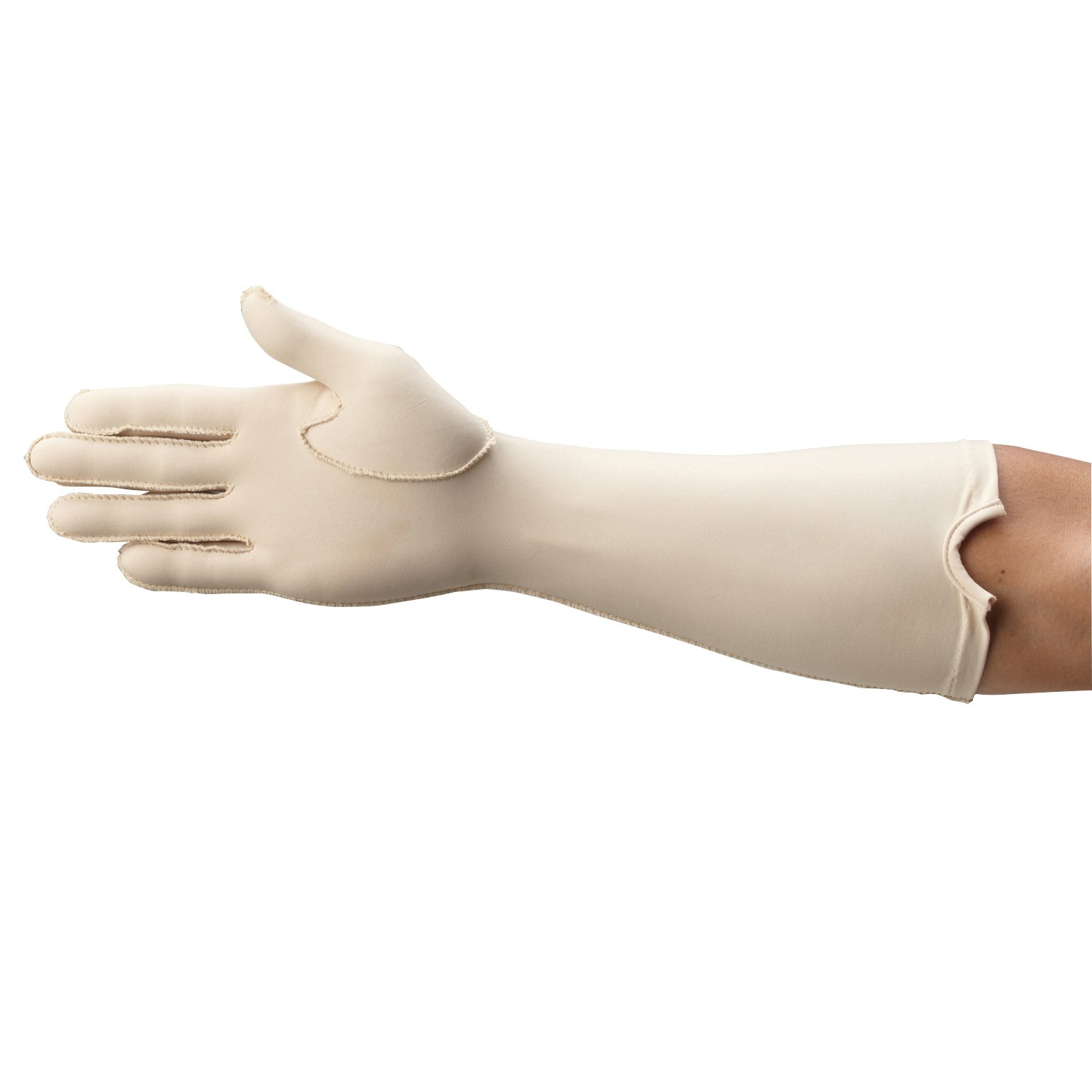 Rolyan Forearm Length Right Compression Glove, Full Finger Compression Sleeve to Control Edema and Swelling, Water Retention, and Vericose Veins, Covers Fingers to Forearm on Right Arm, Small