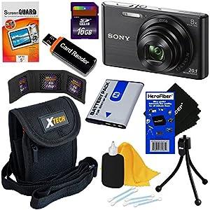 Sony Cyber-shot DSC-W830 20.1 MP Digital Camera with 8x Zoom & Full HD 720p Video (Black) - International Version + NP-BN1 Battery + 8pc 16GB Accessory Kit w/ HeroFiber® Ultra Gentle Cleaning Cloth