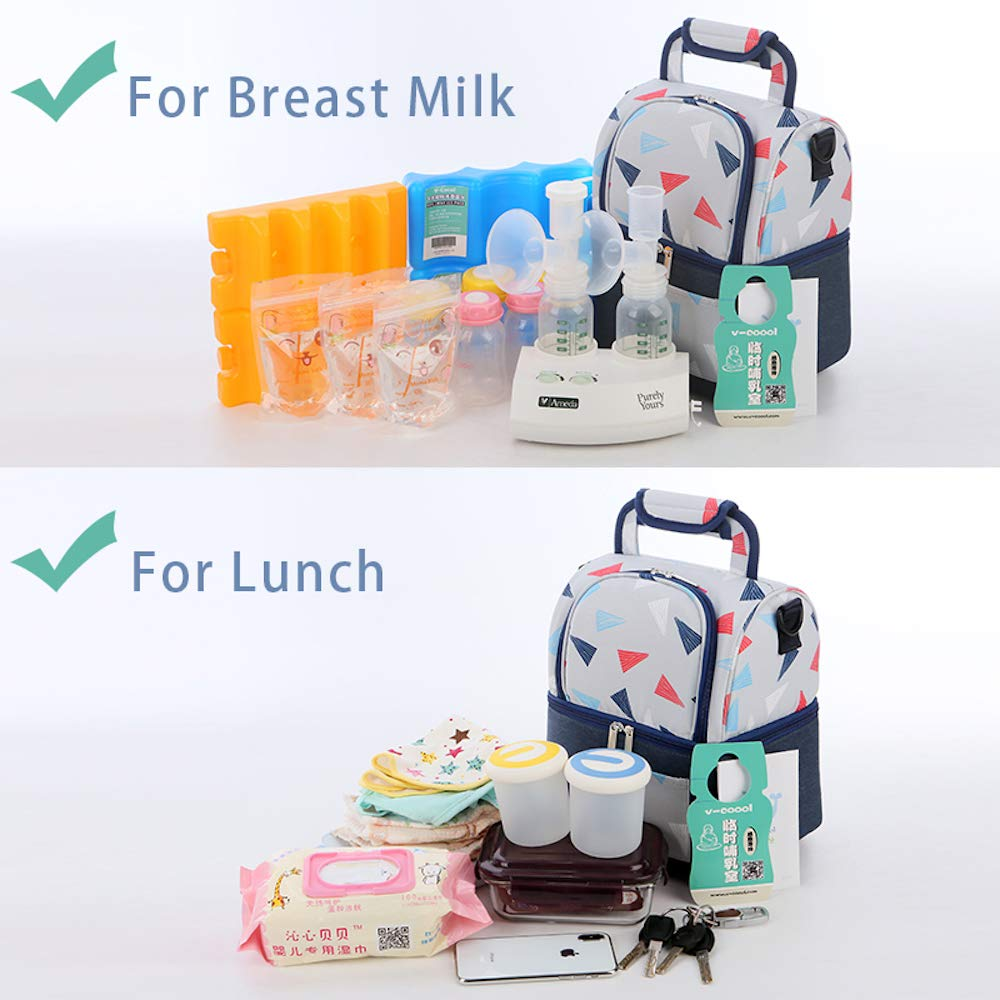 2 Ice Packs Included Rufun Insulated Bag for Breast Milk Lunch Cooler Warming Backpack Waterproof Triangle