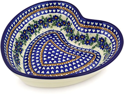 - Polish Pottery 8-inch Heart Shaped Bowl made by Ceramika Artystyczna (Mother's Love Theme) Signature UNIKAT + Certificate of Authenticity