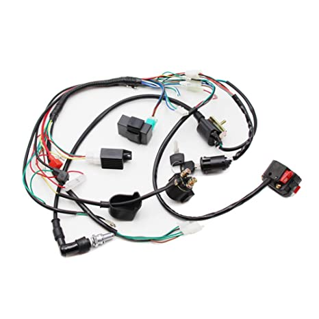 Full Electrics Wiring Harness Coil CDI Spark Plug Kits For 50cc 70cc on