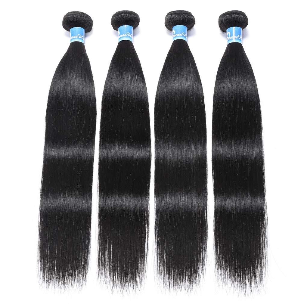 Peruvian Virgin Straight Human Hair 4 Bundles 10A Silky Straight Hair Weave 100% Unprocessed Peruvian Straight Human Hair Extensions (20 22 24 26 inches,400g)