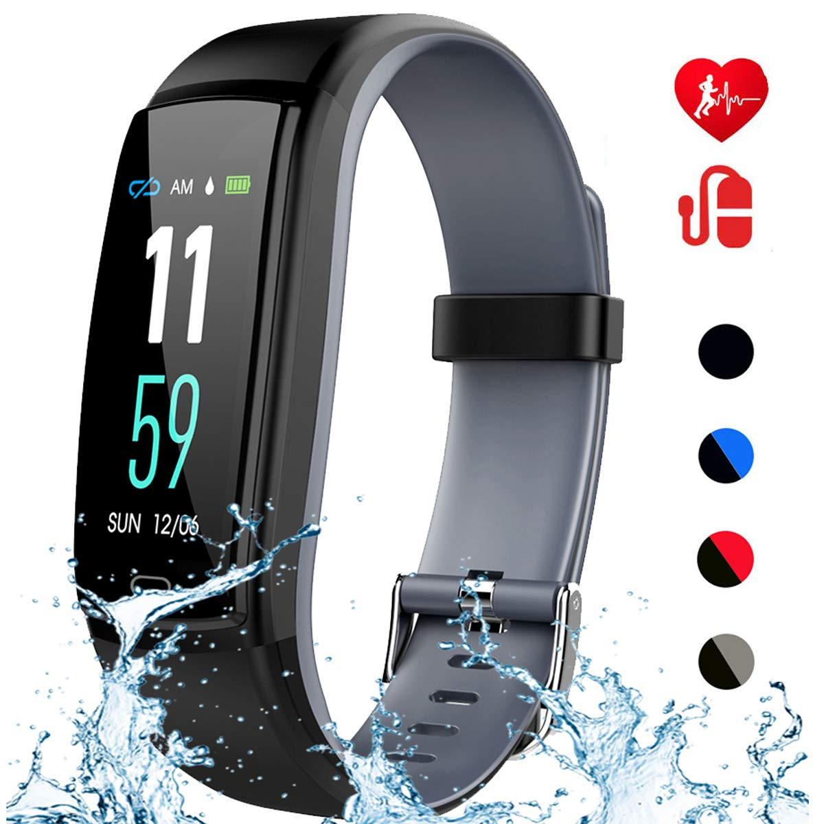 Mgaolo Fitness Tracker HR,Activity Health Tracker Waterproof Smart Watch Wristband with Blood Pressure Heart Rate Sleep Monitor Pedometer Step Calorie Counter for Android and iPhone(Gray) by Mgaolo
