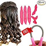 Facial Hair Removal Overnight - 20 Hair Rollers Curlers Night Sleep Foam Hair Curler Rollers Flexible Soft Pillow DIY Sponge Styling Tools with Free Facial Hair Remover