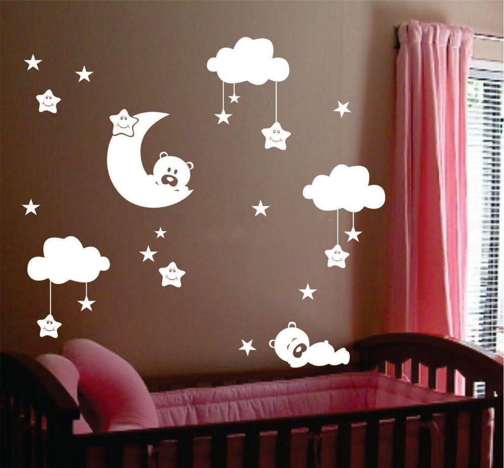 Cute grande taille baby nursery room lune et étoile stickers muraux en vinyle, cute souriant stars avec des nuages blancs Décoration Chambre Bébé HomeDecor69
