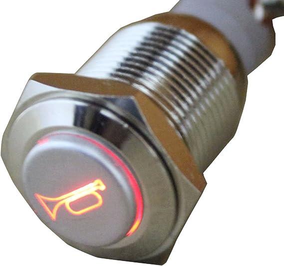 E Support Kfz Auto Boot Kippschalter Druckschalter Schalter Drucktaster Druckknopf 12v Rot Led Licht Metall Lautsprecher Horn Auto