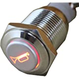 E Support 12V Car Red LED Momentary Speaker Push Button Metal Switch