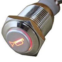 E Support™ 12V Car Red LED Momentary Speaker Push Button Metal Switch 16mm