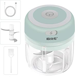 Electric Food Chopper,ibaye Garlic Chopper Wireless Portable Vegetable Chopper with Three Blade,USB Charging Mini Garlic Blender for Garlic/Onions/Pepper/Meat/Chili-Green(250ML)