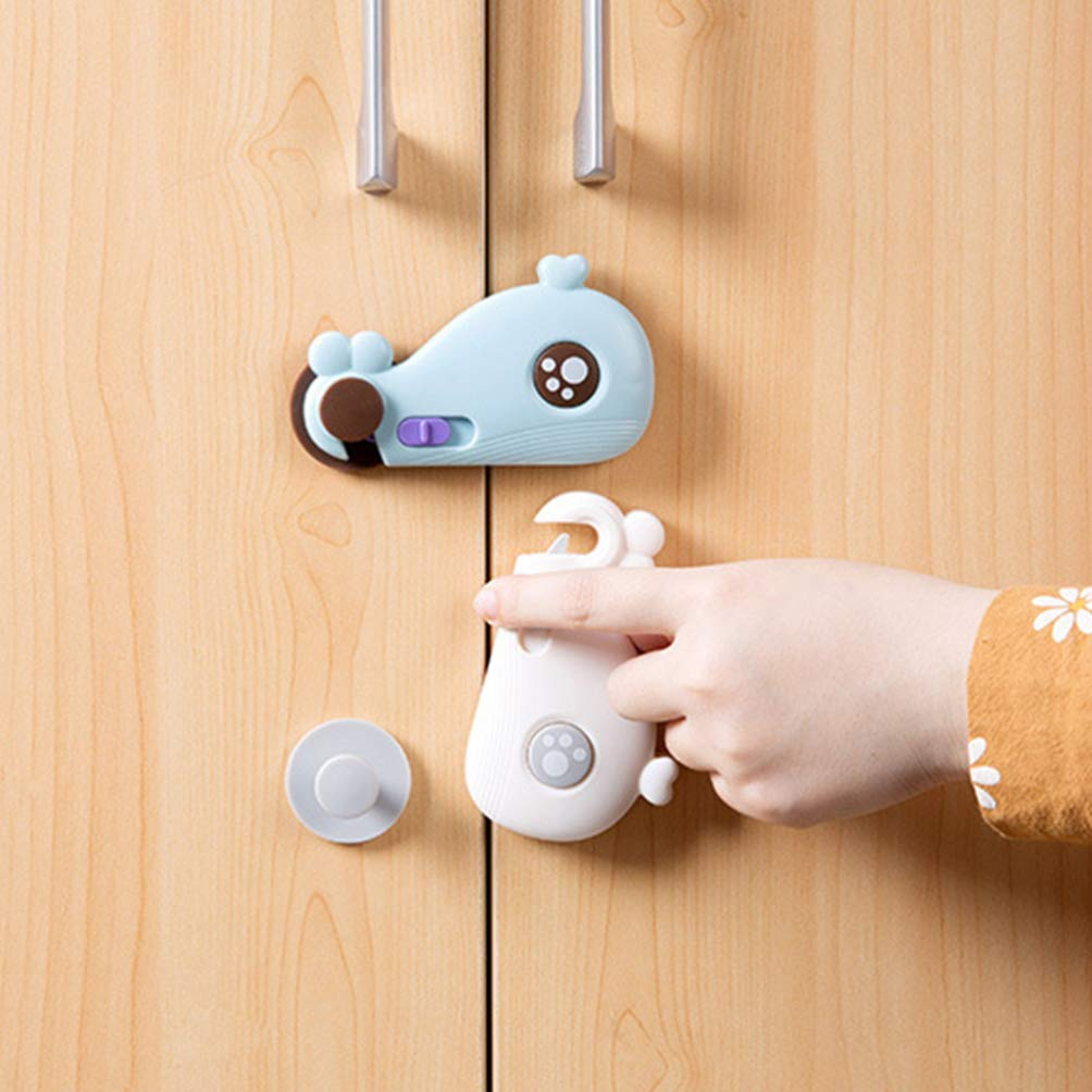 Blue, Grey Multifunction Anti-Pinch Protective Locks for Cabinet Cupboard Drawer Garneck 2pcs Child Safety Locks