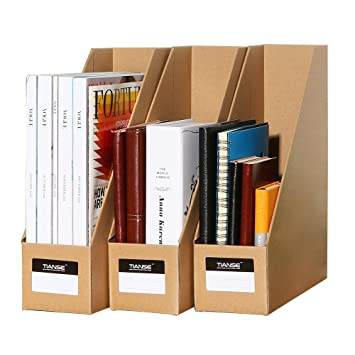 Wonderful TIANSE File Magazine Holder, Desk Storage Organizer For Office Home, Kraft  Paper(Pack