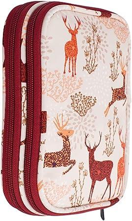 Prosperveil - Portátil Estuche de ganchillo Bolsa de almacenamiento para agujas de ganchillo Organizador de accesorios con Compartimentos dobles y cremallera Accesorios no incluidos Red Reindeer: Amazon.es: Hogar