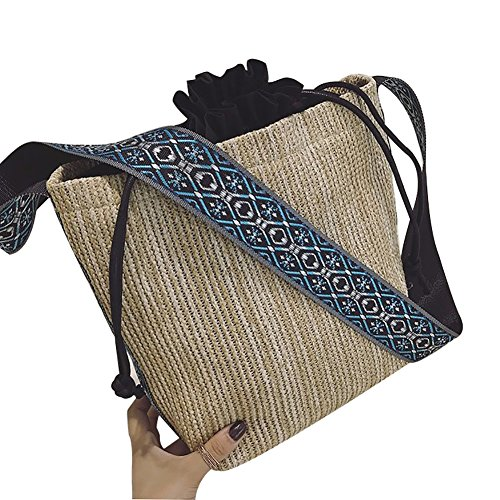 Women Shoulder Bag,Starlit Large Capacity Plaited Shopping Drawstring Handbag Mum Drawstring