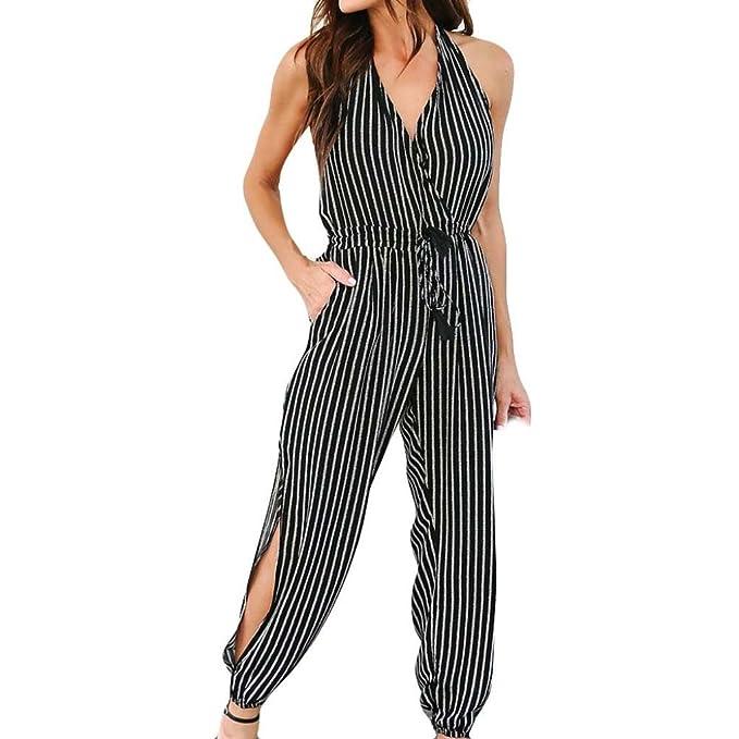 fdeac4195ab5 Longay Women V Neck Backless Halter Stripes Prints Romper Jumpsuit Long  Trousers (S)