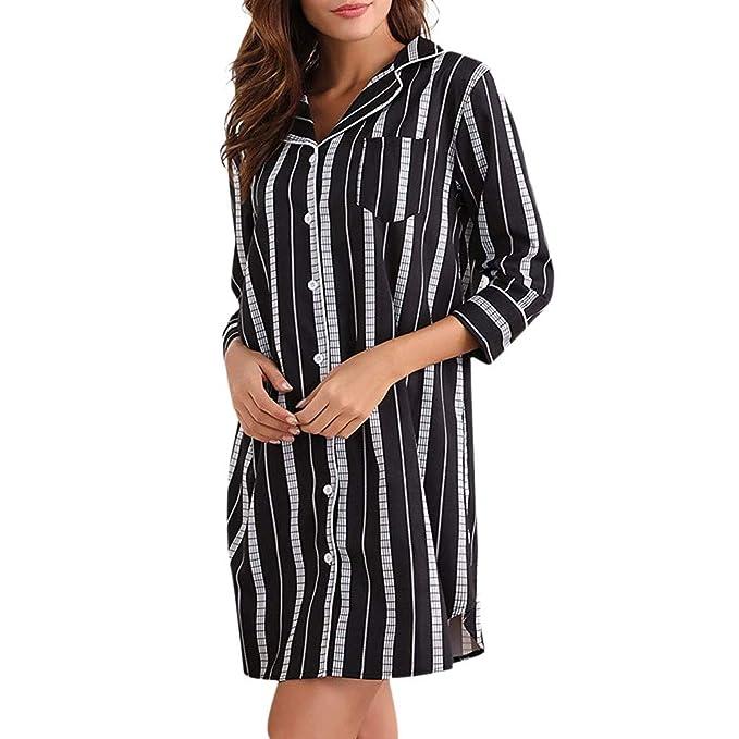 Amazon.com: Zbkdds - Camisa de algodón a rayas para mujer ...